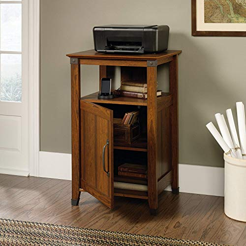 Heavy Duty Printer Stand with Adjustable Shelf Behind Door and Open Storage Shelf, Home Office Fax Machine Stand, Rustic Rich Oak Wood with Real Iron Hardware