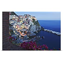 Dennis Flaherty Poster Print entitled Italy, Cinque Terre, Manarola, Dusk on a scenic coastline town