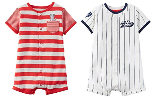 Carter's Baby Boy's 2 Pack Cotton Romper Creeper Set (Newborn, Red and Grey Stripe Dog and White Baseball)