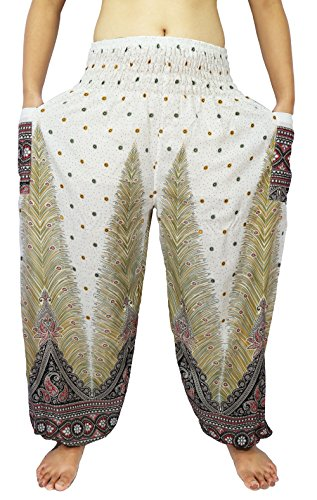 Lovely Creations Women's Yoga Pants Boho Hippie Plus Size Jumbo Pants Smocked Waist 26-54 Inches (AG White) - Pictures Of Hobo Halloween Costumes