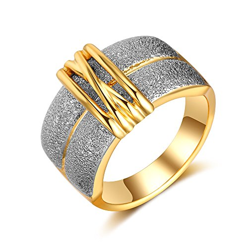 dnswez Fashion Wide Band Rings Buckle Scrub Gold Tone Statement Ring for Women Size 10 (Ring Cocktail Tone Gold)