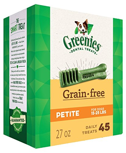 Greenies 27 OZ, Grain Free Dental Chews Petite Size for Dogs
