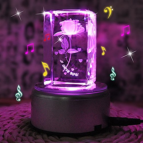 Lover Crystal Rose Artificial Flowers, Fairy Rose 3D Laser Etched Flower Collectible Figurine Crystal With Display Light Base for Home Decor and Valentine's Gift - 3d Laser Crystal Figurine