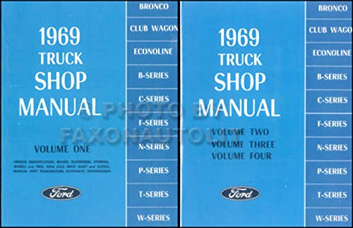 (COMPLETE 1969 FORD TRUCK & PICKUP REPAIR SHOP & SERVICE 2 BOOK SET OF 4 MANUALS - F100 F150 F250 F350 F500 F600 TO F7000, WT-Series, L-Series, LN-series, N-Series, HT-Series)