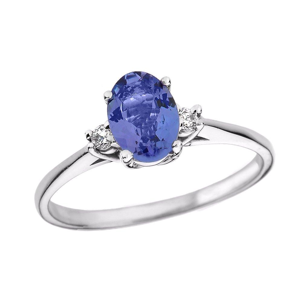 Tanzanite and Diamond 14k White Gold Engagement Proposal Ring(Size 8.5)