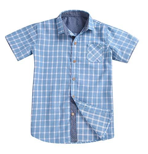 (Little Boys Plaids Shirts Button Down Short Sleeves Woven Sport Polo Shirt Toddler Boy Cotton Clothes Set (Blue, 3-4 Years))