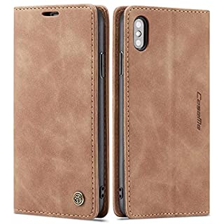 iPhone Xs Wallet Case iPhone X Leather Case, SINIANL Folio Case with Kickstand Credit Card Holder Magnetic Closure Folding Flip Book Cover Case for Apple iPhone X iPhone Xs - Brown