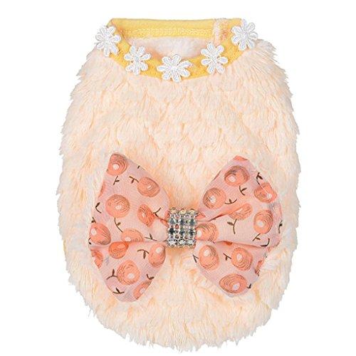 (Howstar Pet Sweater, Plush Dog Clothes Coat Soft Warm Puppy Shirt Vest Winter Apparel (Yellow, XXXS))
