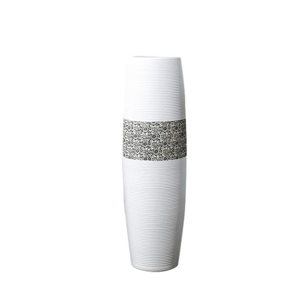 白い床大花瓶装飾リビングルームセラミックフラワーアレンジメント水文化高装飾 HUXIUPING (Size : M) B07T61PQ9D  Medium