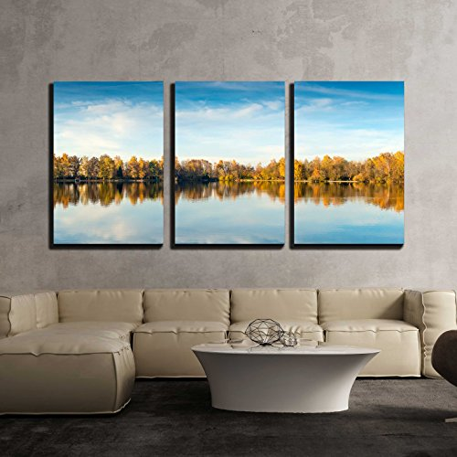 "wall26 - 3 Piece Canvas Wall Art - Picture of a Lake and Trees with Colorful Leaves on an Evening in Autumn in Bavaria - Modern Home Art Stretched and Framed Ready to Hang - 24""x36""x3 Panels"