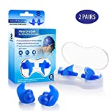 Hearprotek Swimming Ear Plugs, 2 Pairs Waterproof Reusable Silicone Ear Plugs for Swimmers Showering Bathing Surfing and Other Water Sports Adults Size (Blue)