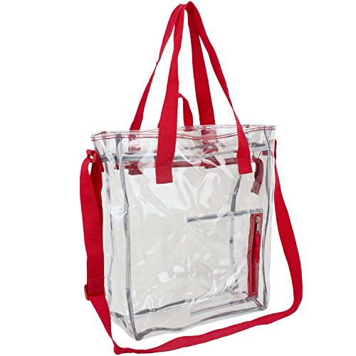 Eastsport 100% Clear PVC Value Tote with Front Easy Access Pocket, Sport Red Trim (Zip Easy Tote)