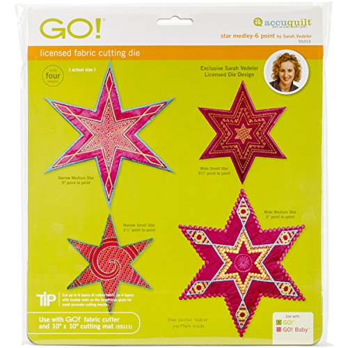 AccuQuilt GO! Fabric Cutting Dies, Star Medley 6 Point by Sarah Vedeler (Medley Star)