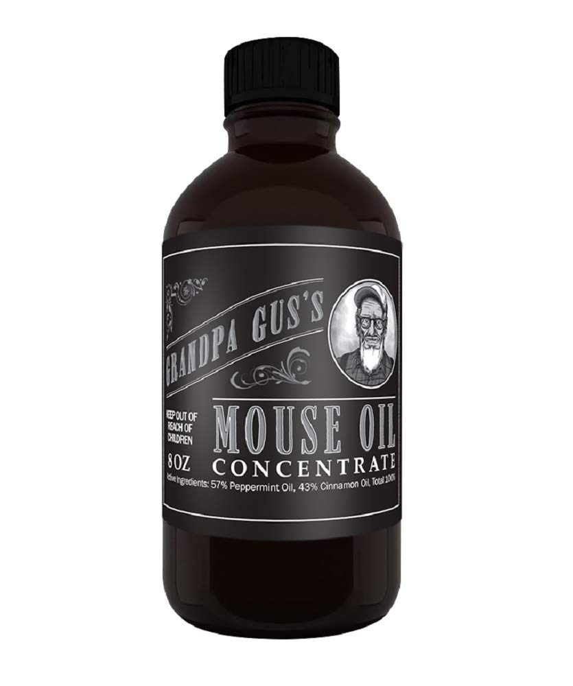 Grandpa Gus's Mouse Rodent Repellent, Peppermint & Cinnamon Oil Formula, Repels Mice/Rats from Nesting, Chewing in Homes/RV, Boat/Car, Storage and Wiring (8 Oz Concentrate)