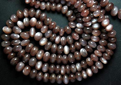 JP_BEADS 16 Inches Full Strand, Super Finest Cut, AAA Chocolate Moonstone Smooth Rondelles, Size 10-7mm