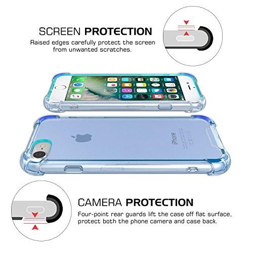 iPhone 7 Plus Hülle, JIAXIUFEN Schutzhülle HandyHülle Silikon UltraSlim Clear TPU Bumper Kratzfeste Tasche Durchsichtig Case Cover Silikonhülle für iPhone 7 Plus - Transparent Blau