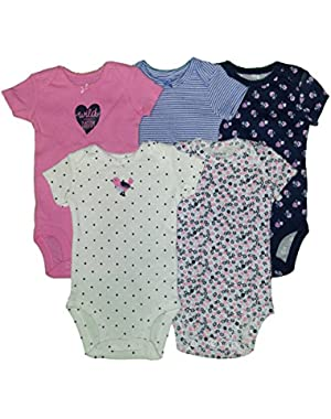Carters Baby Girls 5 Pack Bodysuits (Baby) - Wild About Daddy-9M