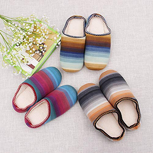 Light Candy Stripe Color Warm Fleece Indoor Unisex Slippers with ALOTUS Gray BOBO WwqIpnBRS