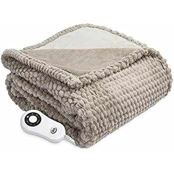 Serta Heated ElectricHoneycomb Faux Fur Throw- with 5 setting controller, 50 x 60