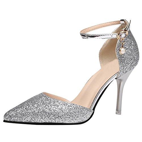 Mee Shoes Damen High Heels Pailletten Ankle Strap Pumps Silber