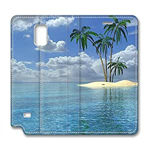Isle Tropical Palm Tree Ocean Beach DIY Leather Samsung Galaxy Note 4 Case Perfect By Custom Service
