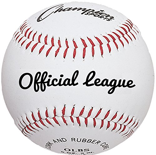 (Champion Sports Leather Baseball Set: Dozen Indoor/Outdoor Synthetic Leather Official League Baseballs for Practice Training or Real Game - OLBS Pack of 12)