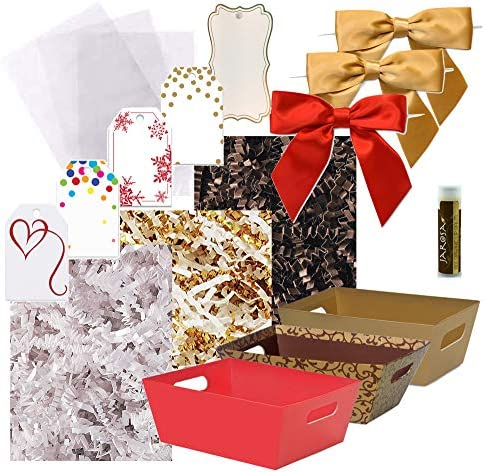 Pursito Gift Basket Making Kit Variety 7 x 5 x 3 Includes: Market Trays Crinkle Cut Paper Cellophane Bags Satin Bows & Gift Tags-3 Total Sets Wedding Christmas Birthday Valentine Gift