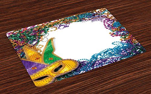 Ambesonne Mardi Gras Place Mats Set of 4, Colorful Framework Design with Vibrant Beads and Mask Fat Tuesday Holiday Theme, Washable Fabric Placemats for Dining Room Kitchen Table Decor, Multicolor