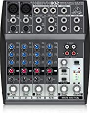 Behringer Xenyx 802 Premium 8-Input 2-Bus Mixer with Xenyx Mic Preamps and British EQs. Never use unbalanced XLR connectors (PIN 1 and 3 connected) on the MIC input connectors when using the phantom power supply