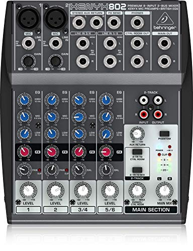 12 Channel Mixing Desk - Behringer Xenyx 802 Premium 8-Input 2-Bus Mixer with Xenyx Mic Preamps and British EQs