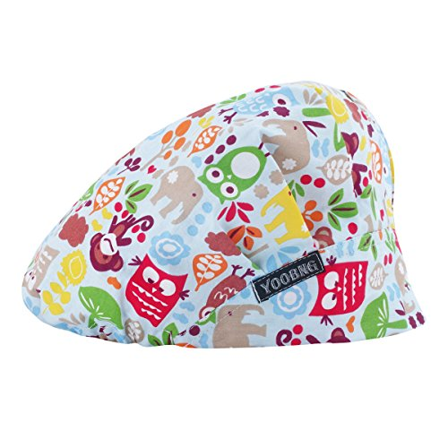 Women Scrub Bouffant Hat Cap Adjustable Classic Beauty Print Floral Cute One Set
