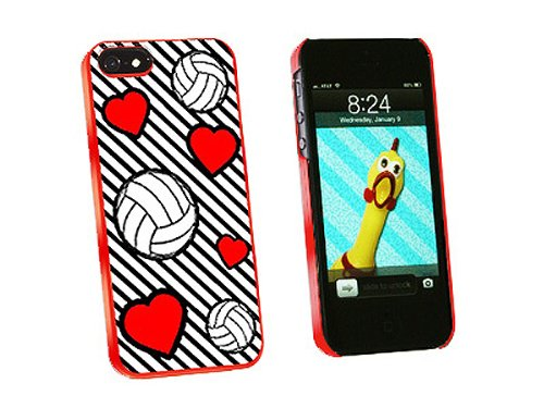 Graphics and More Volleyball Love Snap-On Hard Protective Case for iPhone 5/5s - Non-Retail Packaging - Red - Iphone5s Volleyball Cases