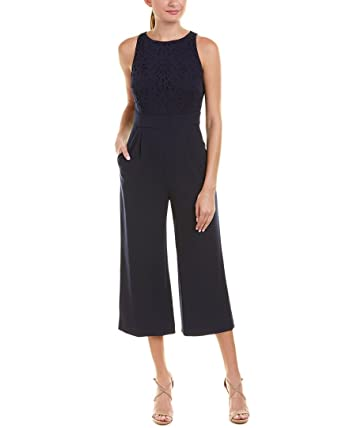 b2f24363cdc Amazon.com  Tahari by ASL Women s Lasercut Jumpsuit Navy 16  Clothing
