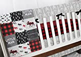 Buffalo Plaid Moose - 4 pc Crib bedding Set - Patchwork Blanket, Rail Cover, Fitted Crib Sheet & Crib skirt - Black, Red, Grey