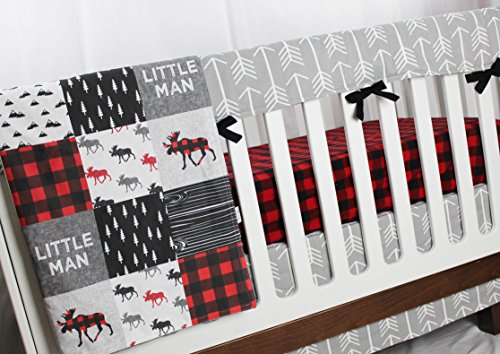 Buffalo Plaid Moose - 4 pc Crib bedding Set - Patchwork Blanket, Rail Cover, Fitted Crib Sheet & Crib skirt - Black, Red, Grey by APreciousThread