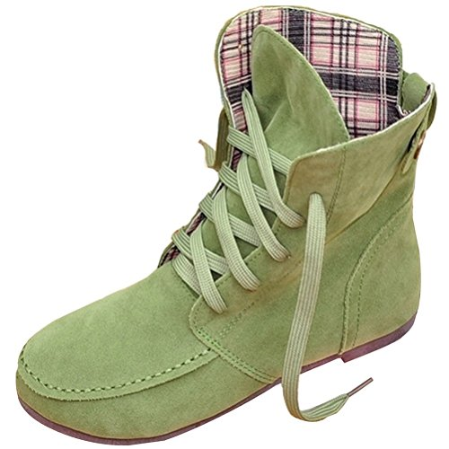 Color Ancke Martin Maybest Flat Shoes Round Green Up Flat Women Toe Autumn Boots Plaid Lace Casual Fashion Solid Leather rvfXvqZ