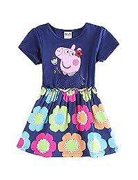 Baby Girl Short Sleeve Party Cute Cartoon Flower Dress Skirt Blue