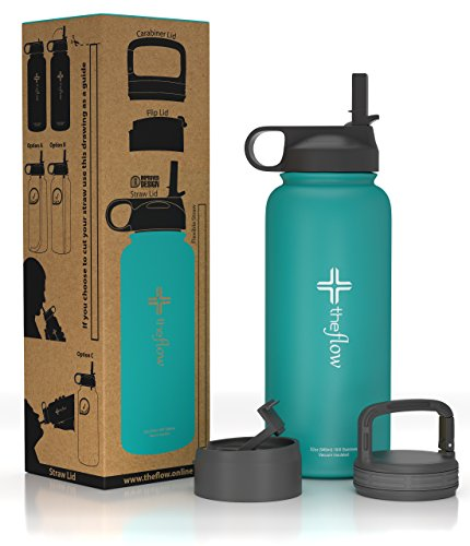 the flow Stainless Steel Water Bottle Double Walled/Vacuum Insulated - BPA/Toxin Free – Wide Mouth with Straw Lid, Carabiner Lid and Flip Lid, 32 oz.(1 Liter) (turquoise)