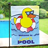 """GiftsForYouNow Personalized Cool Duck Swimming Pool Double Sided Garden Flag, 12 1/2"""" w x 18"""" h, Polyester Review"""