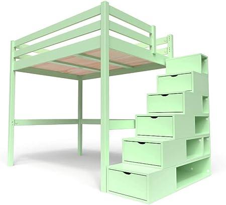 ABC MEUBLES - Cama Alta Sylvia con Escalera Cubo - Cube - Verde Pastel, 140x200: Amazon.es: Hogar