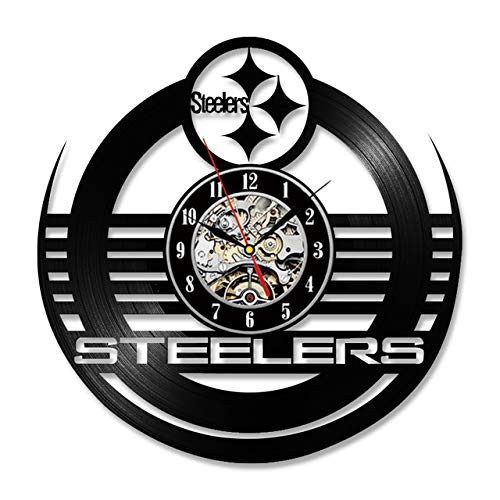 WJ Antique Hollow Style Round CD Record Clock NFL Pittsburgh Steelers Vinyl Wall Clock Creative Personalised Wall Clock