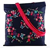 Pinaken Butterfly Bloom Embroidered and Embellished Women's Canvas Tote Bag (P14CTBNBX1, Multicolour)