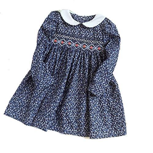 SAFJK Autumn Girl Smocked Dresses Long Sleeve Baby Girl Embroidery Flower Kids Dresses Princess Dress New Year Blue one 6M -