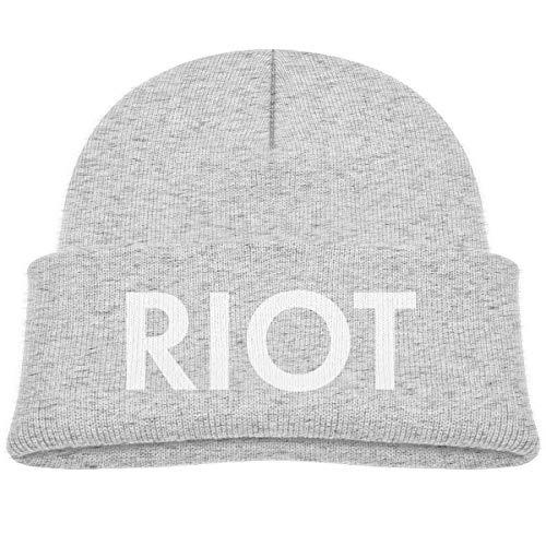 MUPTQWIU RIOT White Logo Children's Beanie Hat Cap Beanie Cap Hat Ski Hat Cap Gray (Ski Riot)