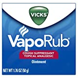 Vicks VapoRub Cough Suppressant Chest and Throat Topical Analgesic Ointment, 1.76 Ounce (Pack of 3)