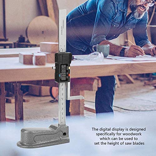 HYY-YY Digital Electronic Height Gauge,0-150mm Aperture Depth Gauge,Height Caliper,with Stainless Steel Base reset button,for saw blades Depth Measuring Tool