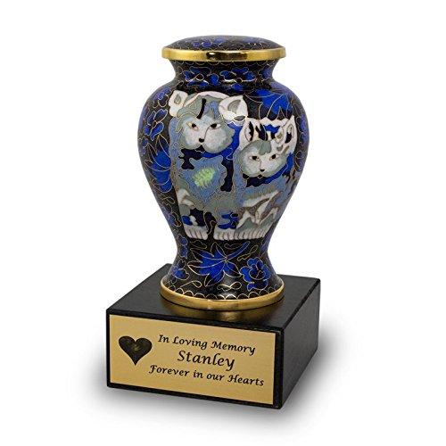 Cloisonne Cat Urn - Blue - Blue Bronze 25 Pounds Small by OneWorld Memorials