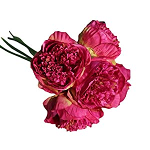 ChainSee 5 Head Artificial Silk Peony Flowers Bridal Bouquet Home Wedding Decor (H) 2