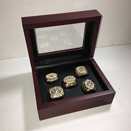 Set of 5 San Francisco 49ers Super Bowl 1981 (XVI), 1984 (XIX), 1988 (XXIII), 1989 (XXIV), 1994 (XXIX) Replica Ring W/Box- Various Sizes Gold Color Collectible Montana, Rice, Young USA SHIPPER