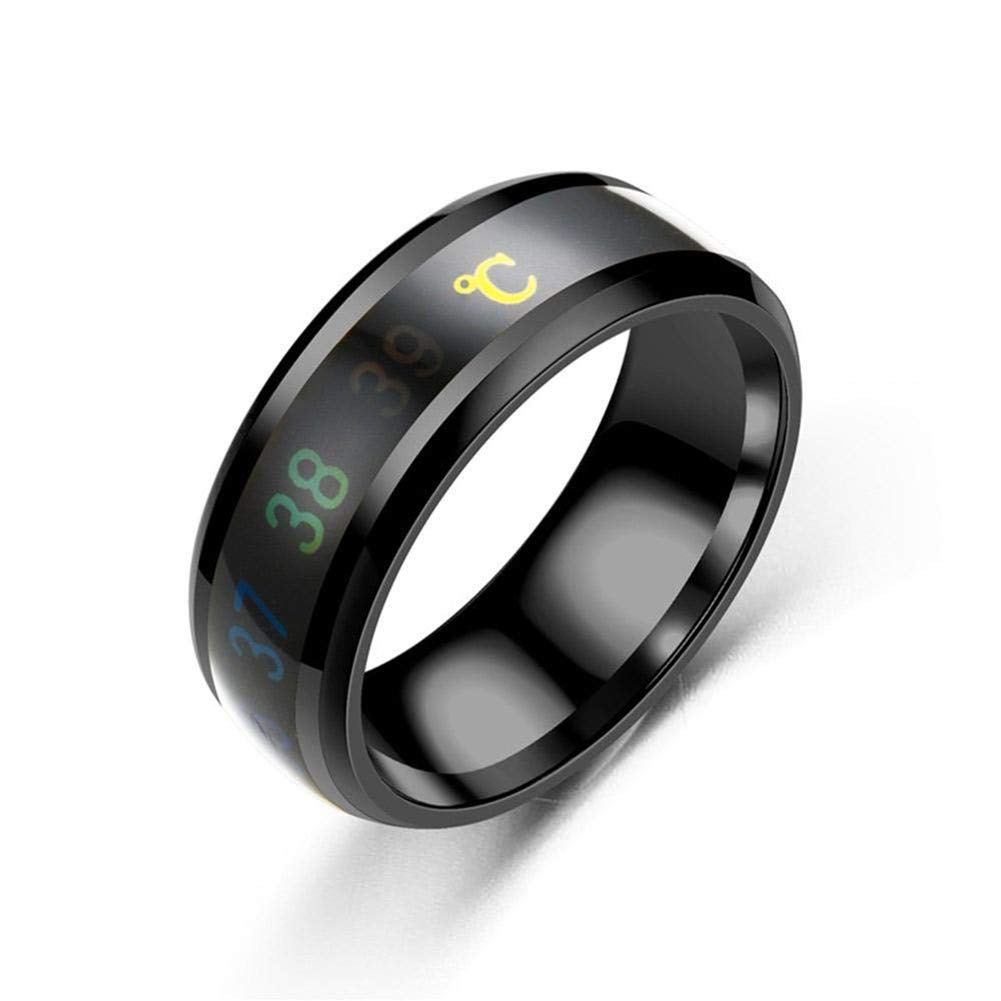 JXFS Temperature Monitor Rings, Digital Thermometer Body Temperature Sensor Smart Rings Wedding Couple Lovers Rings, Suitable Size Titanium Steel Wave Rings-Black-8# by JXFS